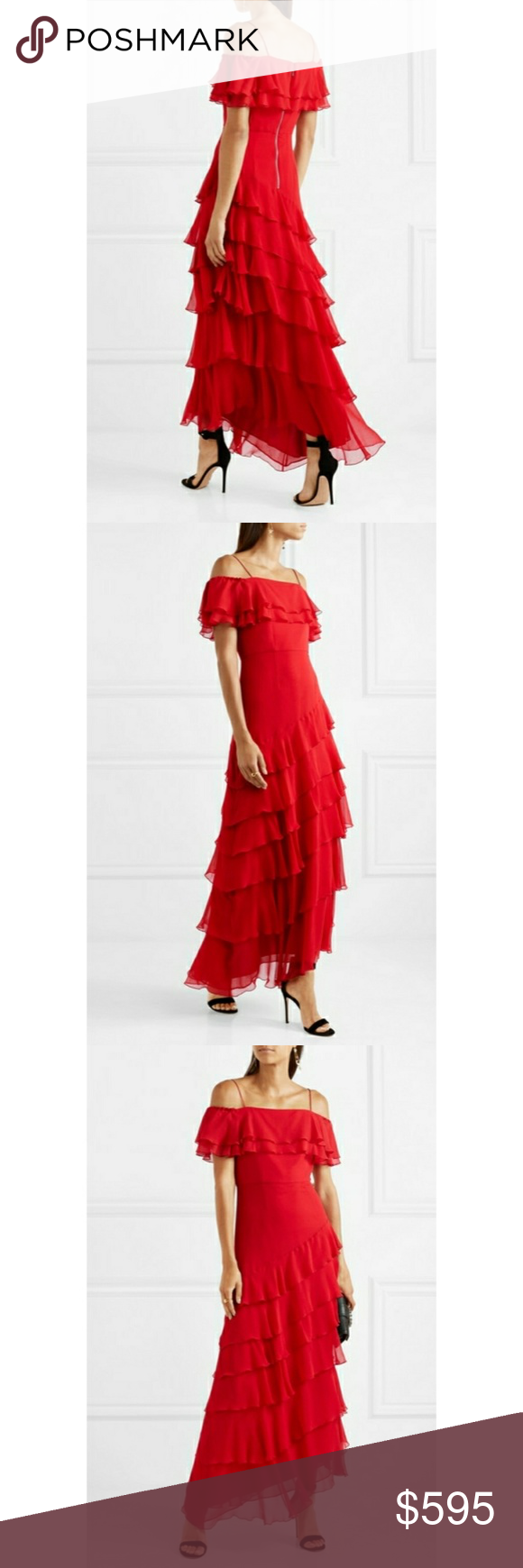 Elioisa Ruffled Off-the-shoulder Silk-chiffon Gown - Red Alice & Olivia Low Shipping For Sale Cheap Pay With Visa Best Seller Sale Online Clearance Footaction Low Price Fee Shipping For Sale 3yHpmiWg5c