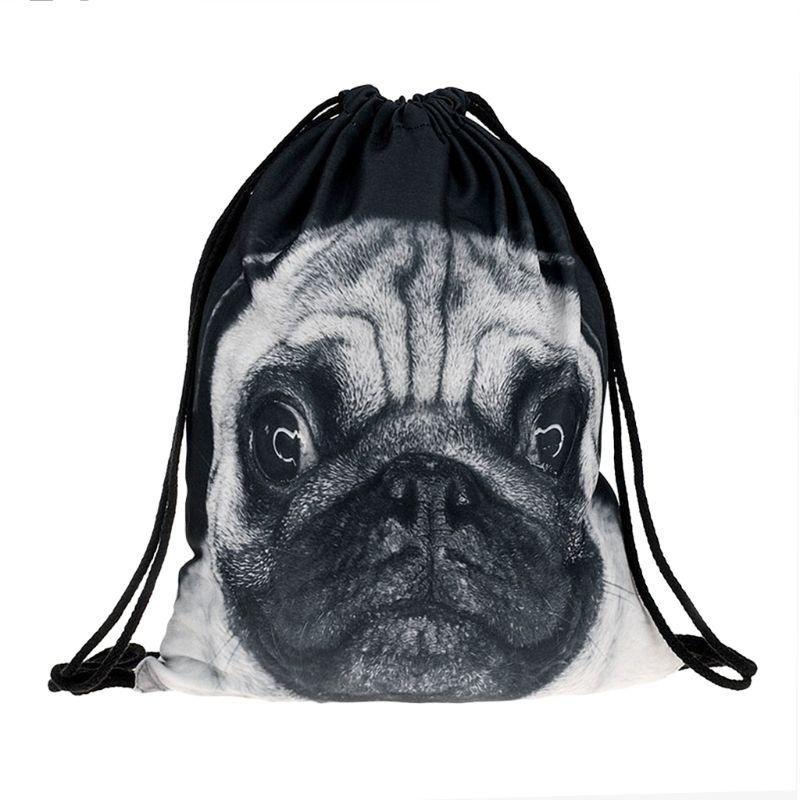 Drawstring Backpack Pug Dog Gym Bag