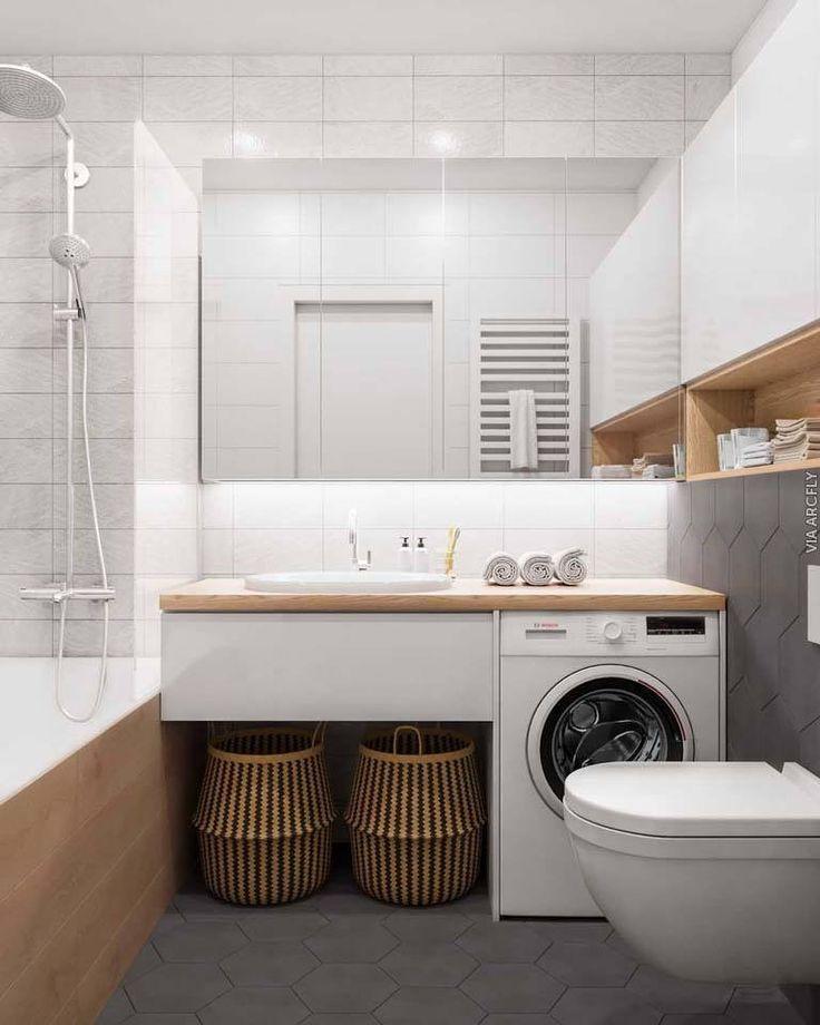 Modernes Badezimmer Interieur Spiegel Waschmaschine Waschtisch