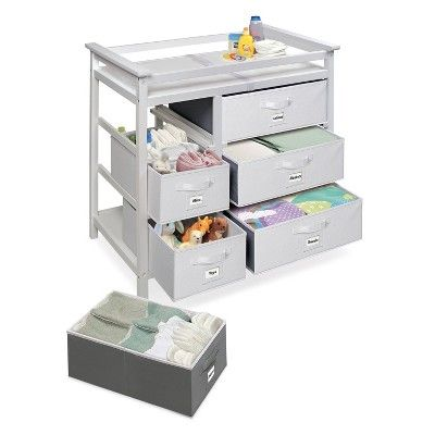 Badger Basket Modern Baby Changing Table with Six Baskets ...