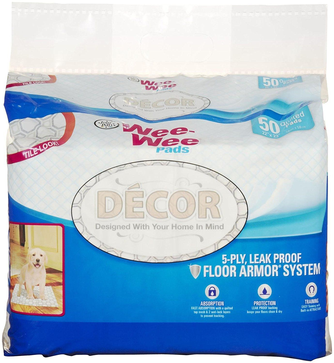 Four Paws Wee-Wee Pads - Tile Decor - 50 Count * You can find out more details at the link of the image.