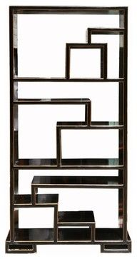 Oriental Black Lacquer Display Cabinet Bookcase Curio Divider