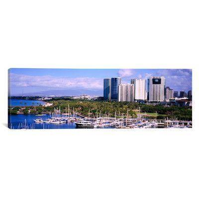 East Urban Home Panoramic High Angle View of Boats, Ala Wai, Honolulu, Hawaii Photographic Print on Canvas Size:
