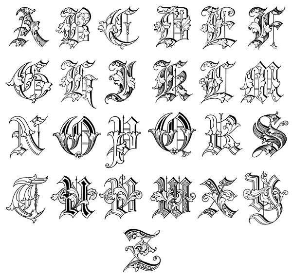 tattoo-lettering-styles-alphabet.jpg (600×571) | 420 | Pinterest ...