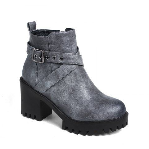 Women's Shoes Leatherette Winter Fashion Bootie Chunky Heel Round Toe  Buckle Zipper Casual Dress