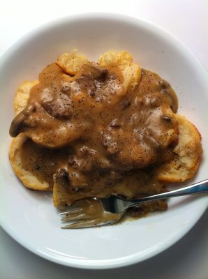 Mushroom gravy for biscuits and gravy :)