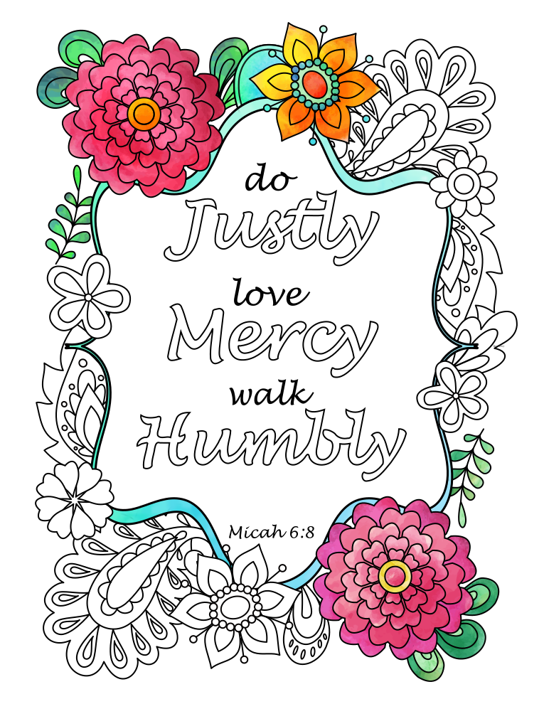 Micah Do Justly Love Mercy Walk Humbly Bible Verse Coloring Page