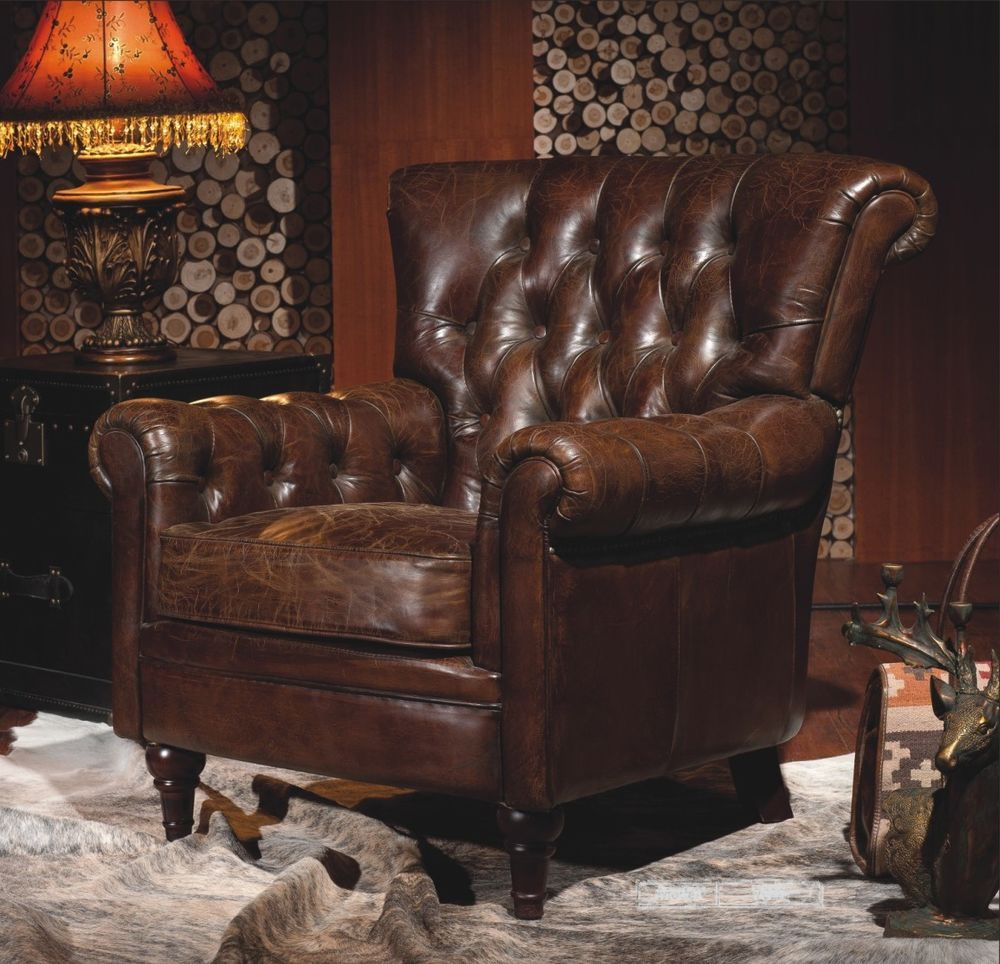 Chesterfield Sessel Vintage Echtleder Chesterfield Ledersessel Braun Lounge Leder Club