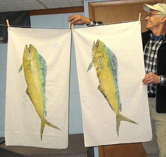 Mahi Mahi Original GYOTAKU fish rubbing on natural by fishfanatic