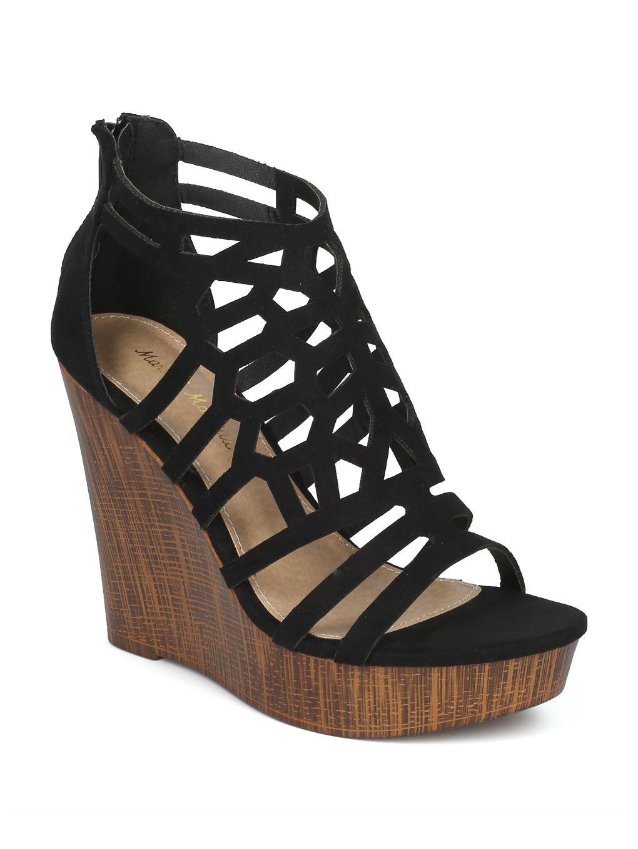 620d378874 Shoes Mark Maddux HG94 Women Faux Suede Caged Cut Out Faux Wooden Platform  Wege