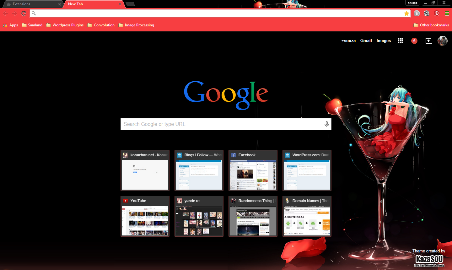 gorgeous red black google chrome theme featuring our lovable diva