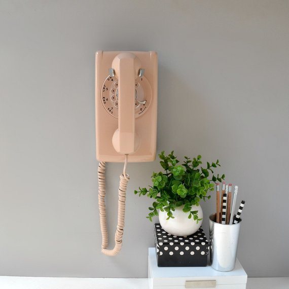 Rotary wall phone in beige; working rotary dial wall telephone; wall mount telephone; rotary wall phone; retro phone; buff wall phone #wallphone