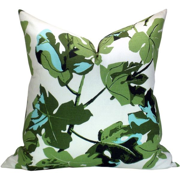 Fig Leaf Pillow Cover in Original on White (€69) ❤ liked on Polyvore featuring home, home decor, throw pillows, pillows, decorative pillows, home & living, home décor, silver, patterned throw pillows and white home decor