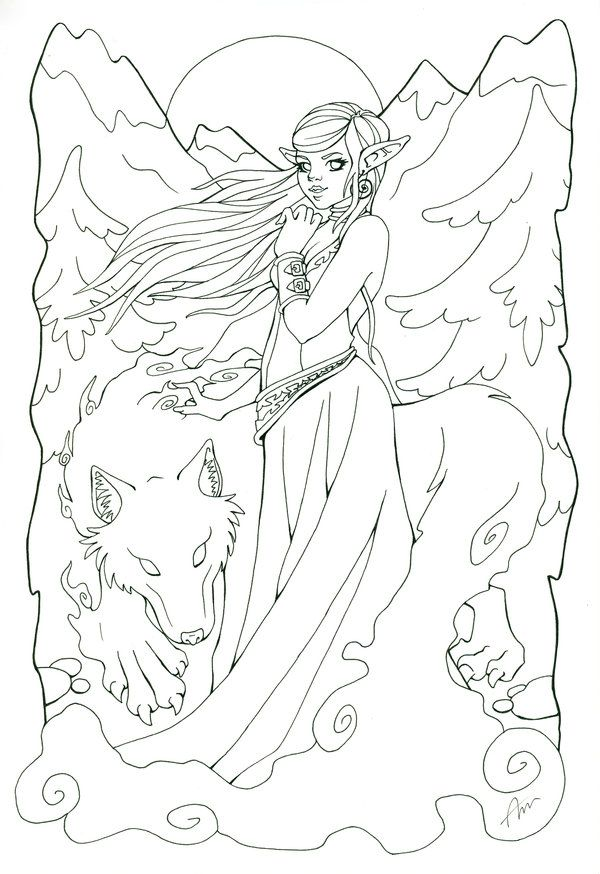 Winged Wolf Free Lineart Wolf Sketch Wolf Artwork Art