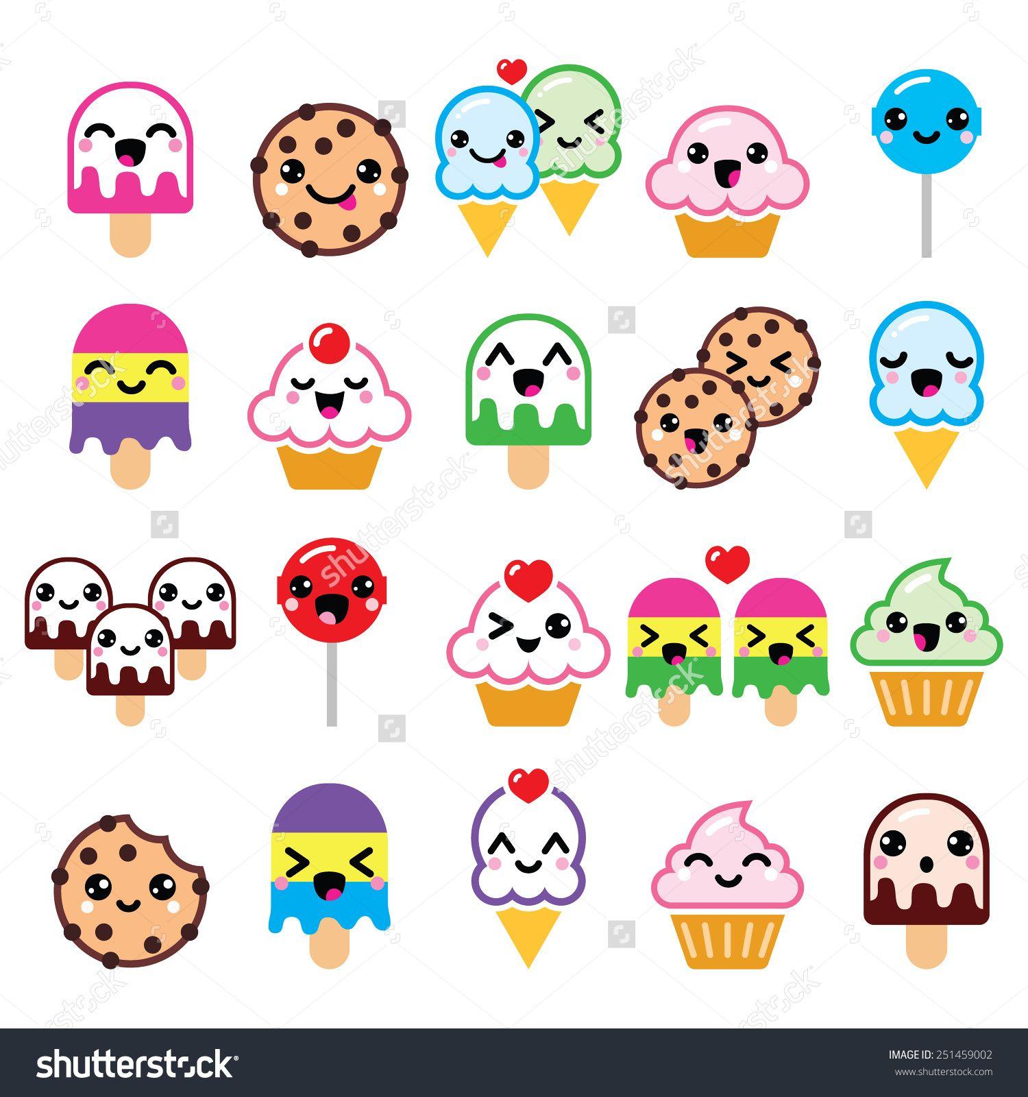 Stock vector cute kawaii food characters cupcake ice cream