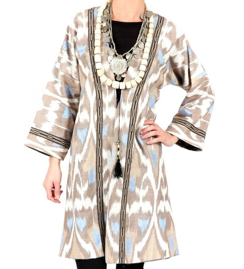 Ikat Robe, Sky Blue with Earth