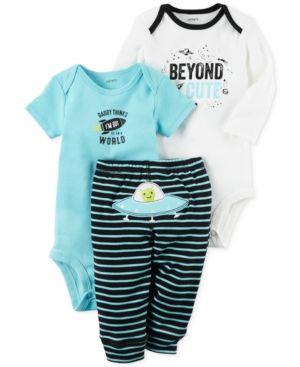 e67f8750b337 Carter s 3-Pc. Cotton Beyond Cute Space Bodysuits   Pants Set