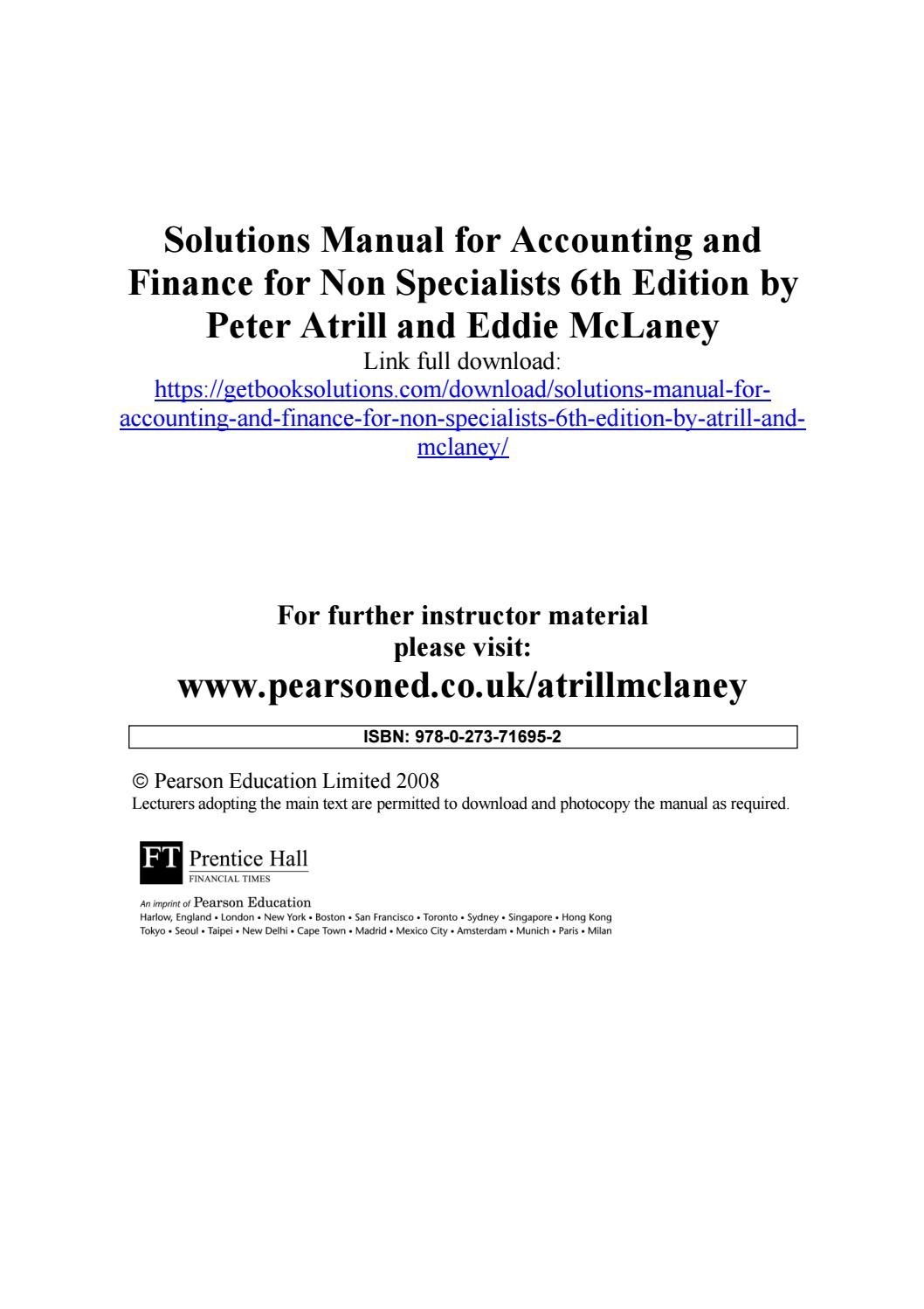 Solutions manual for accounting and finance for non specialists 6th edition  by atrill and mclaney