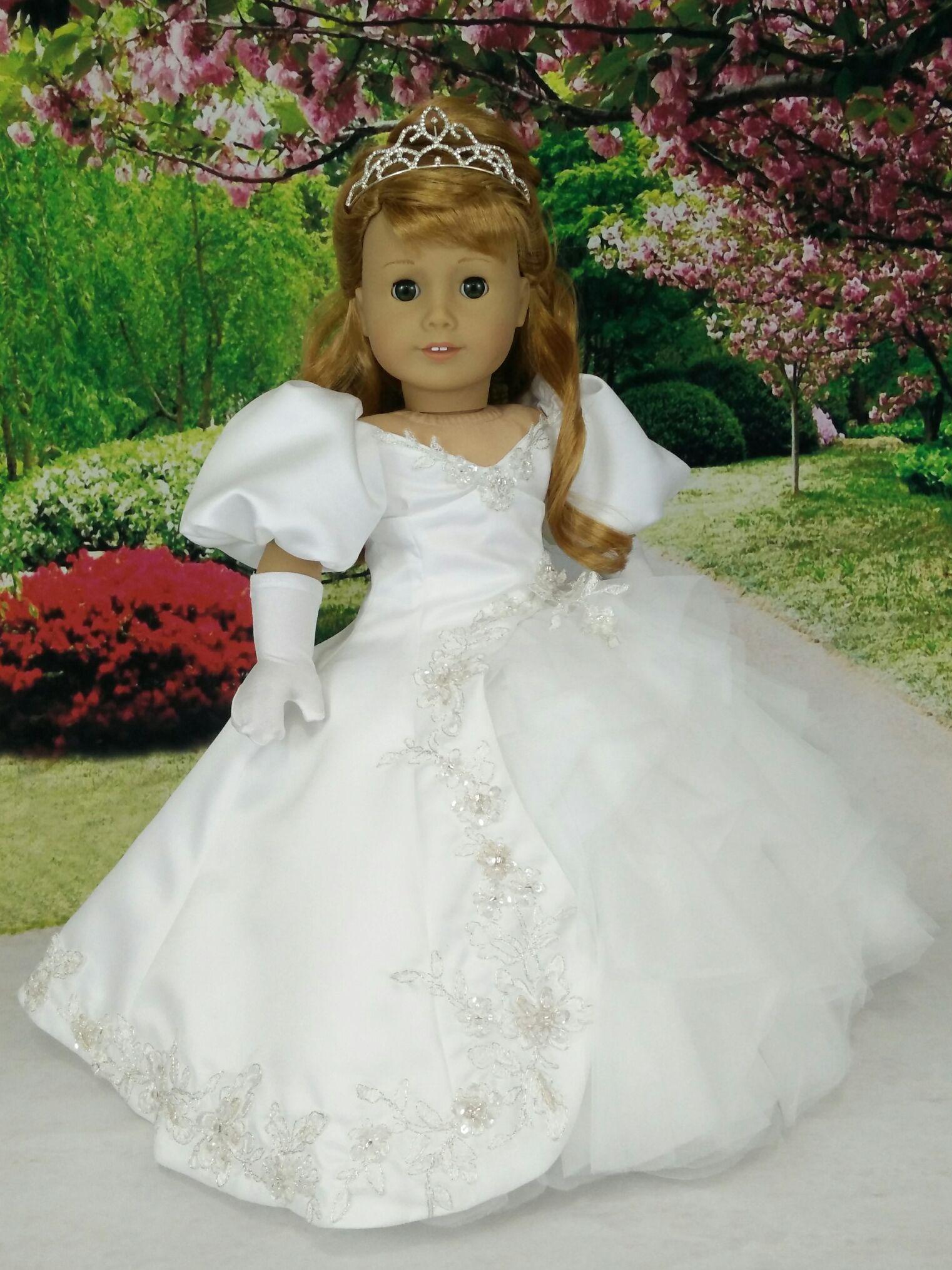 "PRINCESSES--CINDERELLA /& BELLE--DRESS /& HEADBAND---MADE TO FIT 18/"" GIRL DOLLS"
