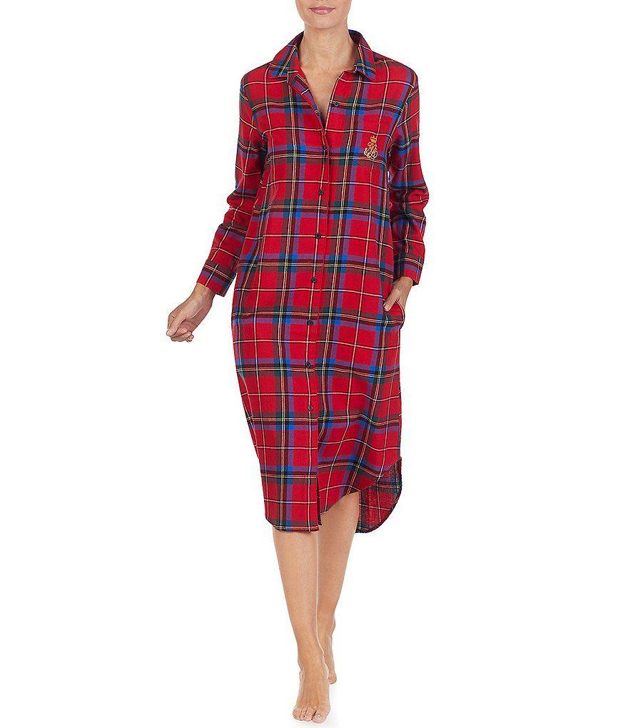 4f0d53474d9 Lauren Ralph Lauren His Shirt Plaid-Print Flannel Maxi Sleepshirt in ...