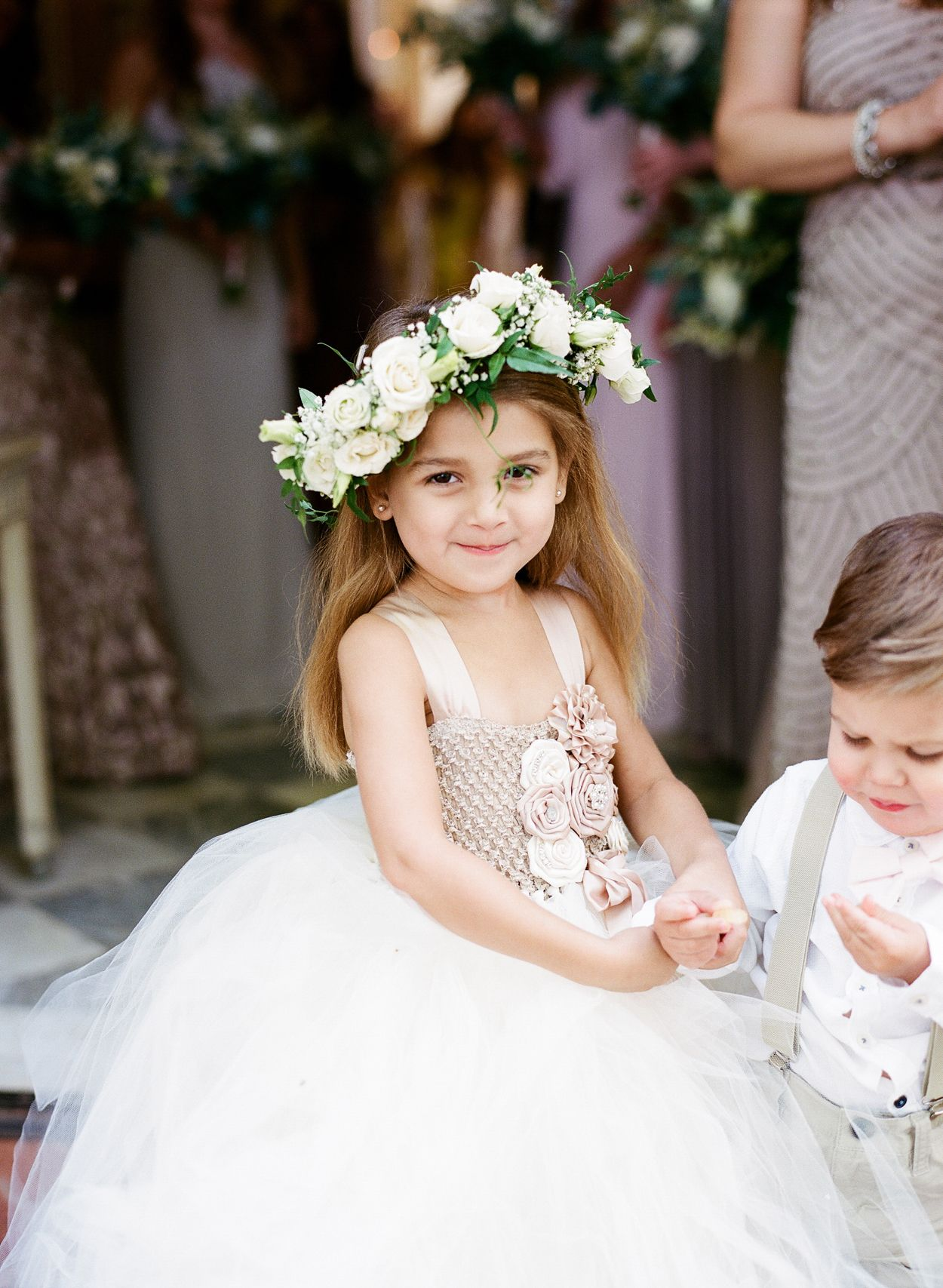 Flower Girl With A Cute Flower Crown Flower Girls Ring Bearers