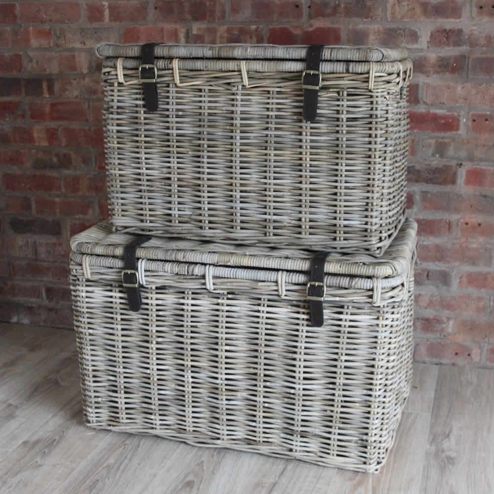 Large Wicker Hamper Baskets Lid Leather Straps Set 2 | Toy basket ...