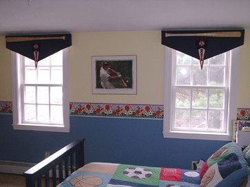Custom Baseball Bat Banner Valances Traditional Kids Other Metro Michelle Jamieson Interiors New England Style