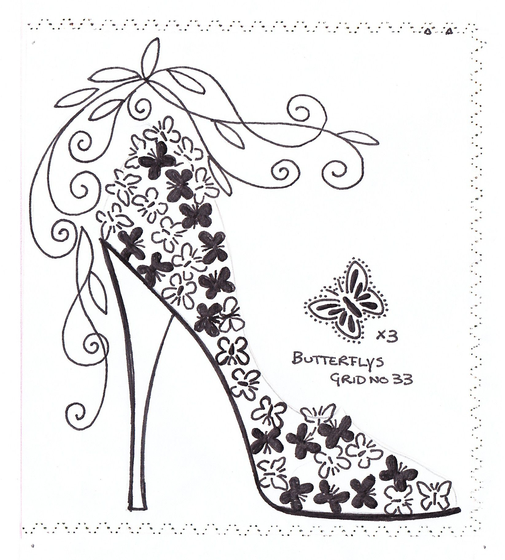 Zapato de mariposas butterfly shoe Coloring pages