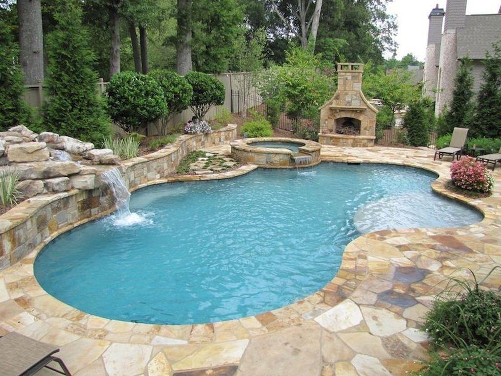 Freeform Pool With A Spa Backyard Pool Designs Backyard Pool