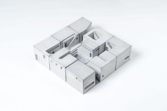 Architectural model Homes Set of Nine Brutalist Concrete | Etsy