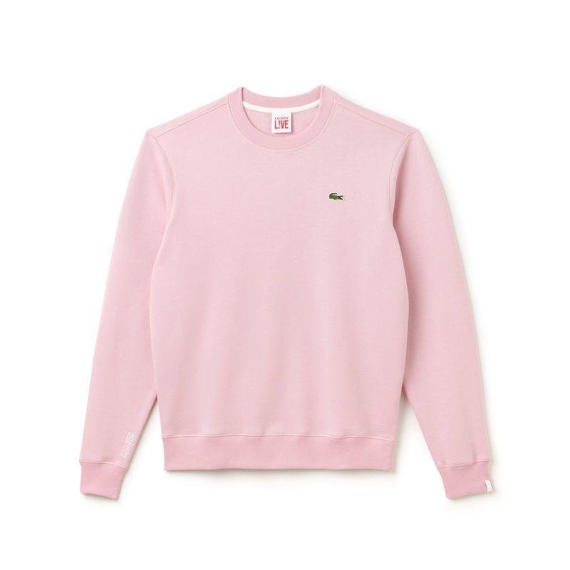 b3d0e229feb Sweatshirt col rond unisexe Lacoste LIVE en coton uni