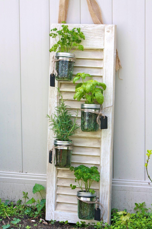 Recycled Shutter Mason Jar Herb Garden Fresh Herbs And