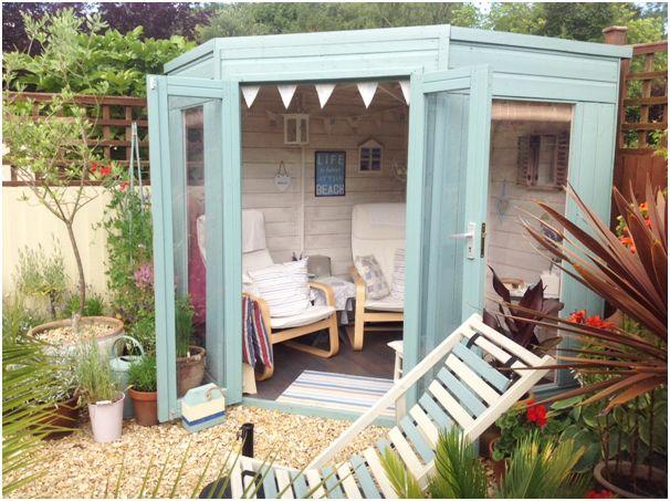 7 x 7 waltons wooden corner summerhouse corner shabby for Beach house ideas uk