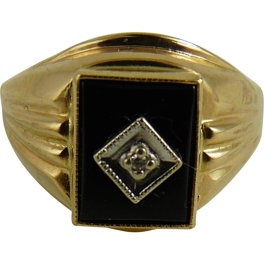 Vintage 10k Gold Onyx Diamond Ring With Images Rings Diamond Ring Vintage Rings