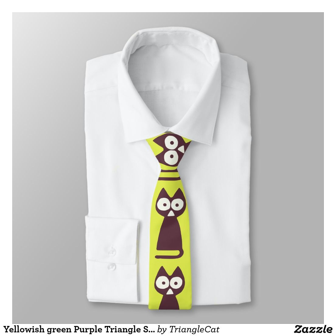 Yellowish Green Purple Triangle Symbolic Cat Tie Zazzle Friends