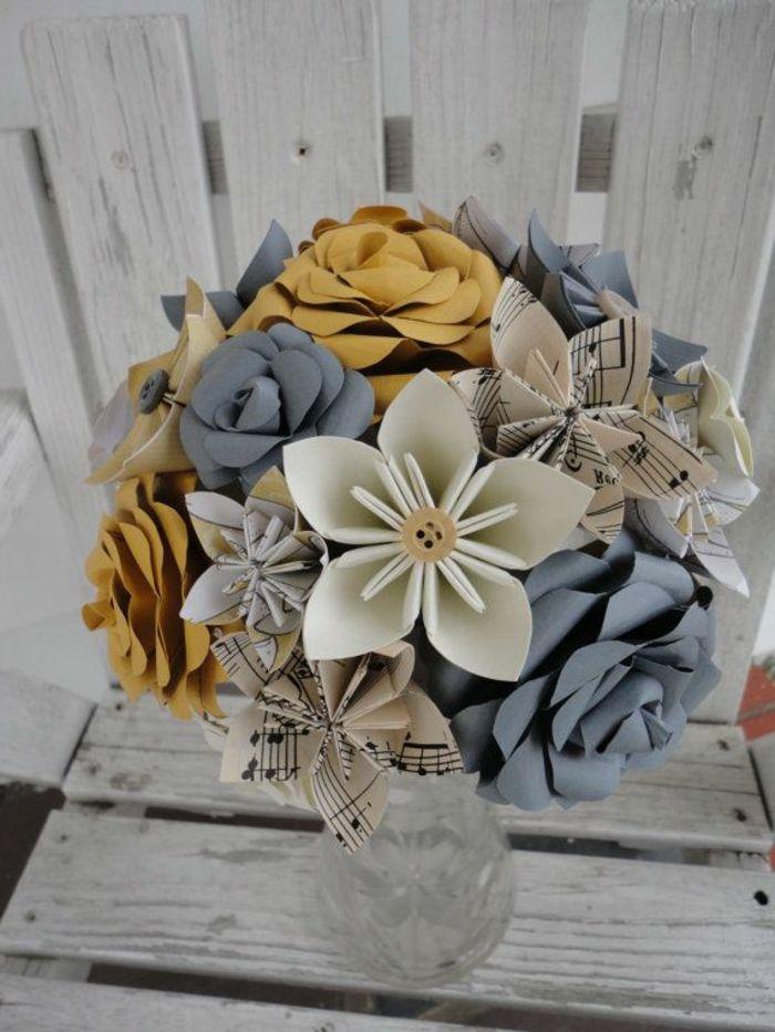 Origami Blumen Papier Noten Knopf Schones Desig Kreativ
