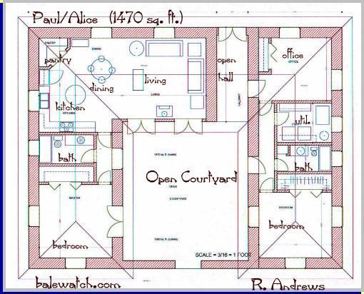 Bungalow Built Around A Central Courtyard Google Search Courtyard House Plans Pool House Plans U Shaped House Plans Small house plan with courtyard