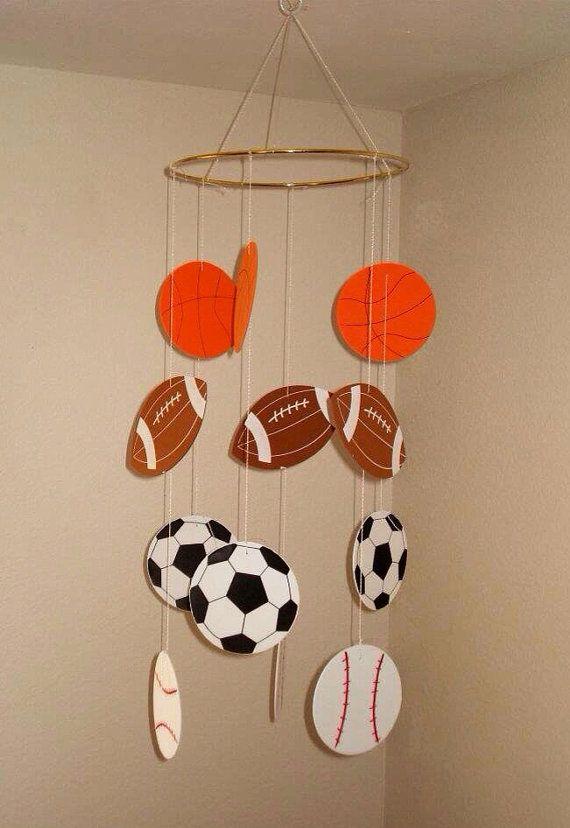 Sports Themed Mobile/Little Boy Room/Baby Boy/Soccer/Football/Baseball on Etsy, $25.00