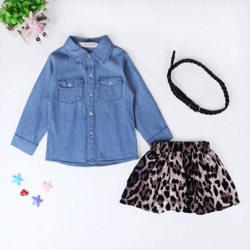 341a30537918 Fashion Baby Girl Clothes Denim Shirt+Leopard Dresses+Belt 3 pcs Toddler Girls  Clothing Set 2017 Summer Kids Costume For Girls. Wholesale Stylish Long ...