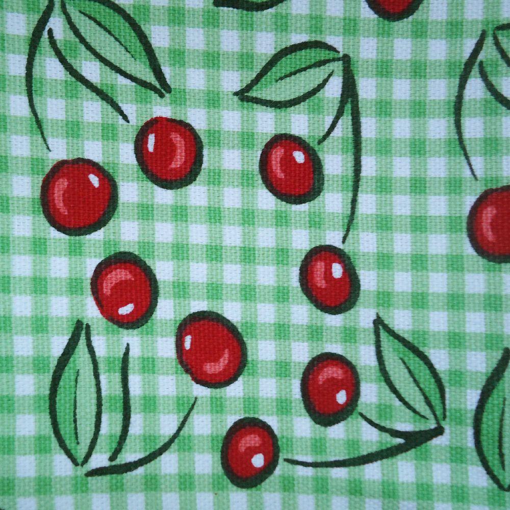 """Cotton Green White Checkered Gingham Cherries Cherry Fabric 1 Yard X 44"""" JoAnn #JoAnnFabrics"""