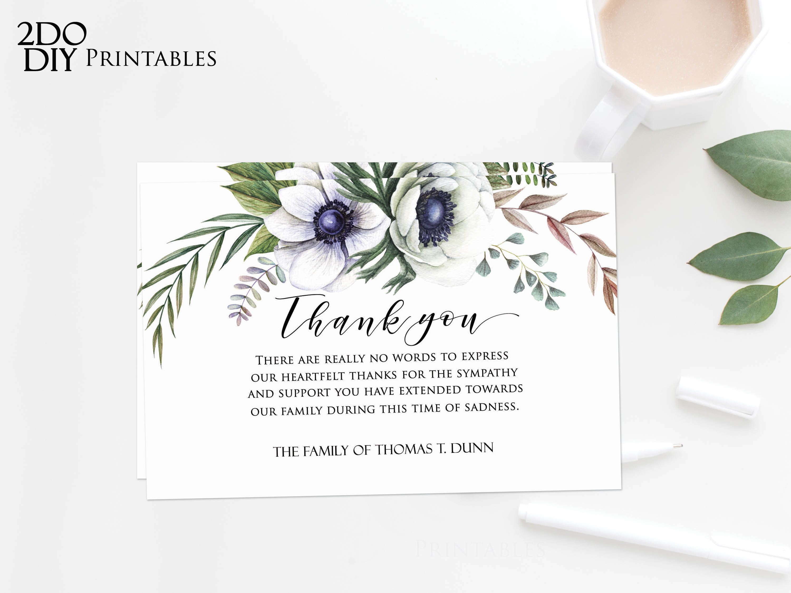 Editable Pdf Funeral Thank You Card Memorial Editable Etsy In 2021 Sympathy Thank You Cards Funeral Thank You Cards Thank You Card Template