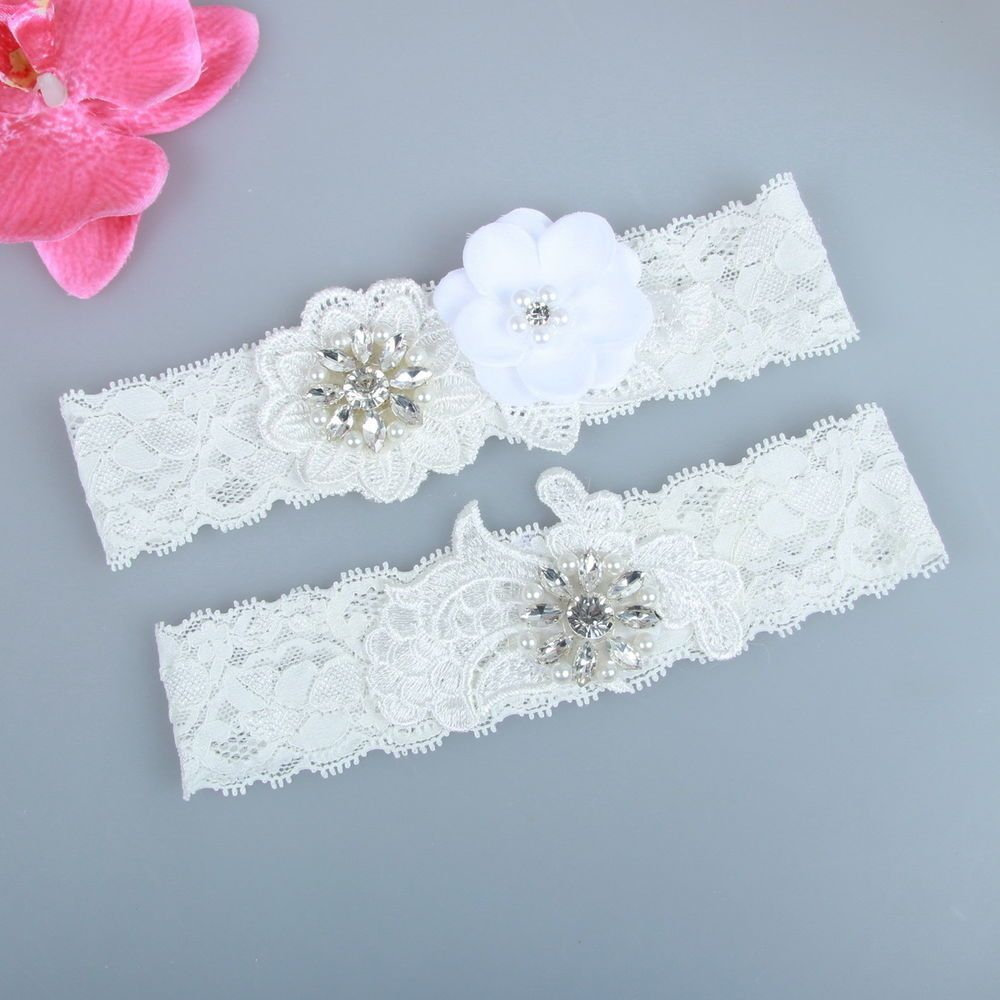 Hot Selling Fashion Rhinestones Floral Lace Bridal garter Set handmade HT1006