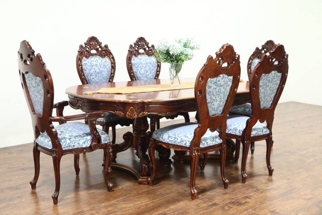 Baroque Carved Cherry Vintage Dining Set Table 6 Chairs Signed