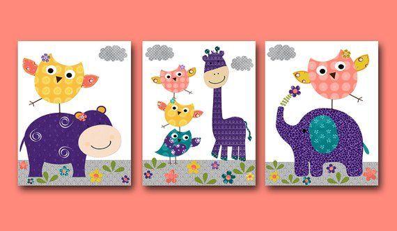 Elefant Giraffe Baby Eule Baby Mädchen Kinderzimmer