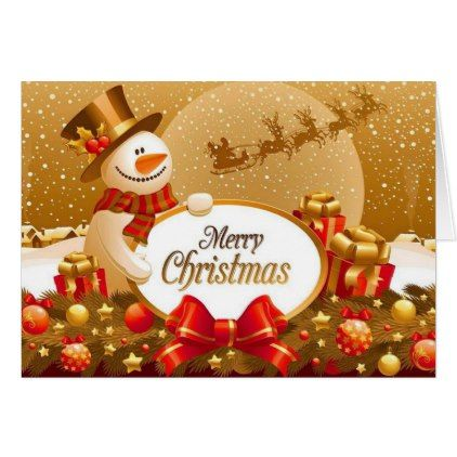 Gold Snow Christmas Greeting Card Zazzle Com With Images