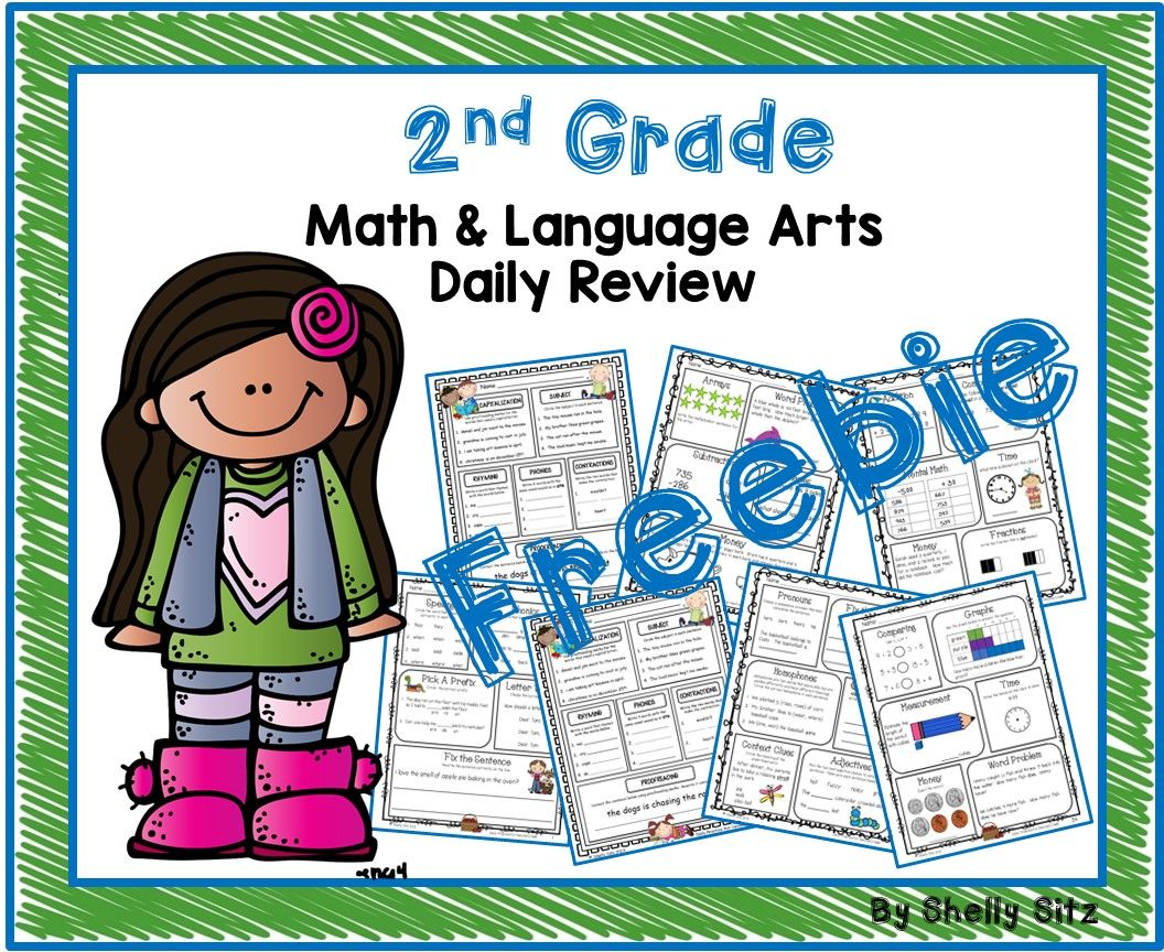 2nd Grade Math And Language Arts Spiral Review Freebie