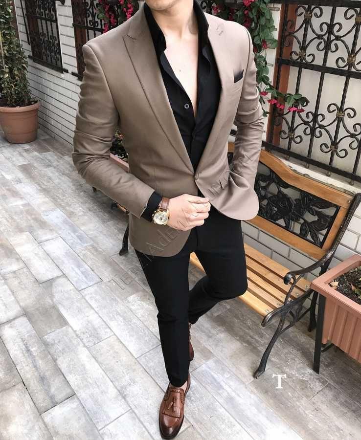 e213b09ca688d Terziademaltun - İtalyan stil erkek blazer tek ceket camel slim fit C7 T2389