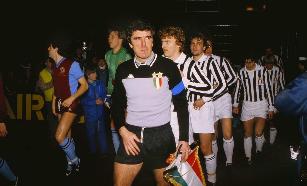 Dino Zoff leads Juventus out against Aston Villa at Villa Park 1983