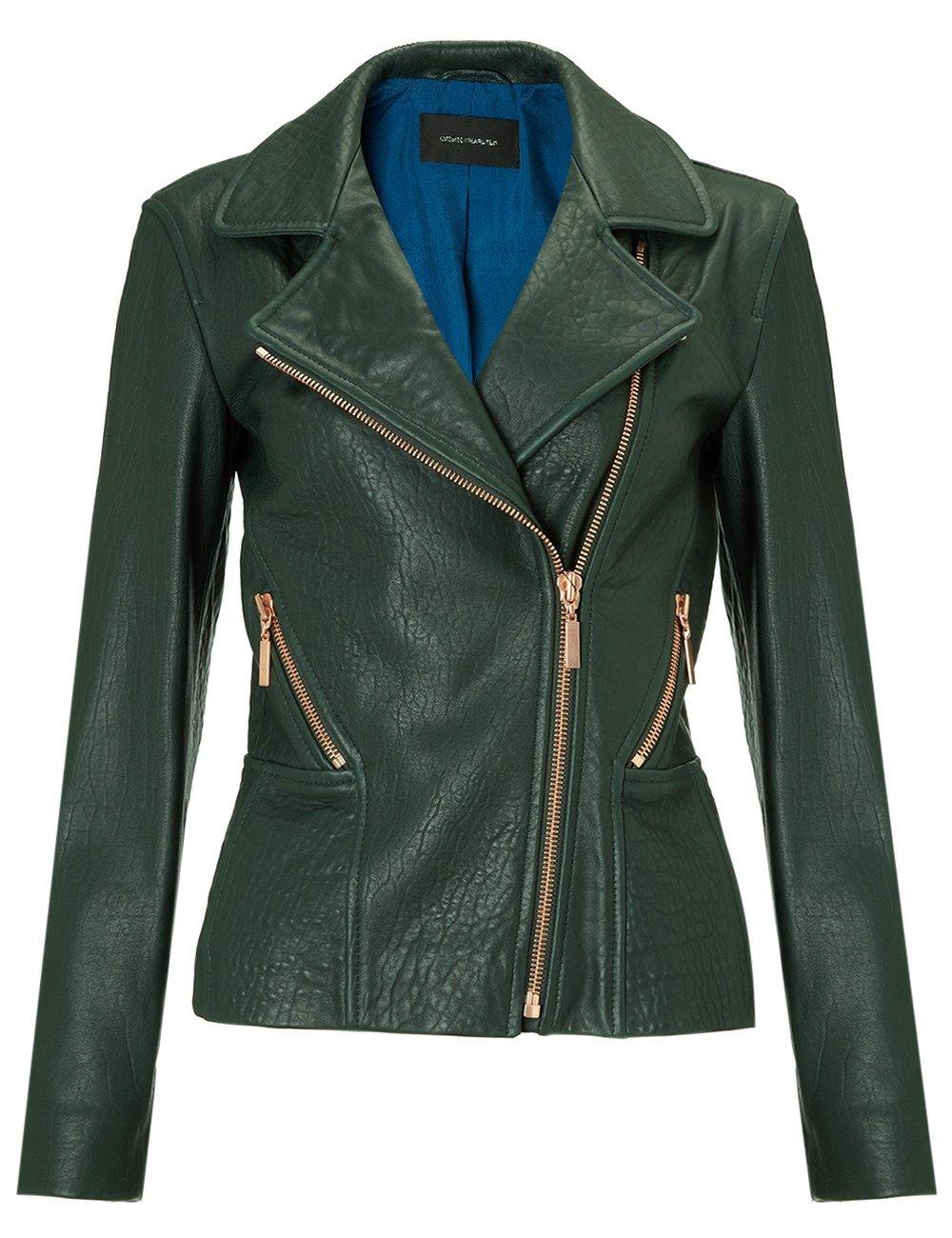 678f35341ed44 Dark Green Leather Jacket