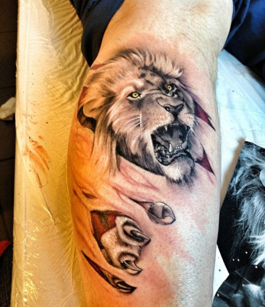 Lion Morph Tattoo: Amazing Lion Tattoo 3d